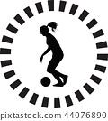 soccer women silhouette. girl player vector 44076890