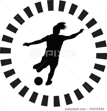 soccer women silhouette. girl player vector 44076894