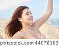 젊은여자, 해변, 수영복 44078103