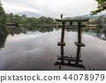 grey heron on lake kinri torii gate 44078979