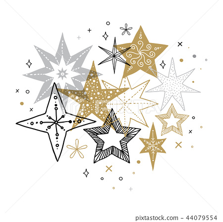 Elegant Merry Christmas background, banner and greeting card, collection of snowflakes, stars, Xmas 44079554