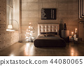 Modern empty bedroom in loft style with grey colors and wooden hand made Christmas tree with 44080065