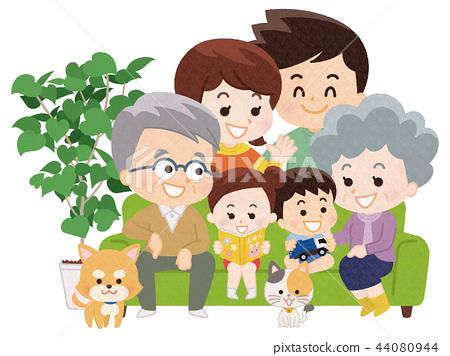 在沙发上的家庭团队 44080944