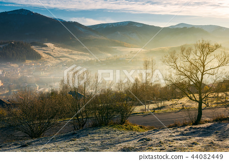 rural valley in autumn at sunrise 44082449