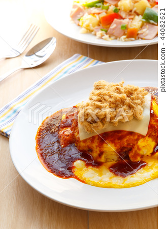 Thai Food, Creamy omelet with chili paste sauce. 44082621