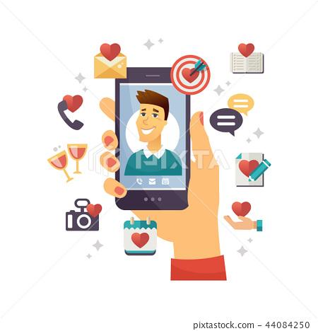 Online dating app - modern vector colorful illustration 44084250