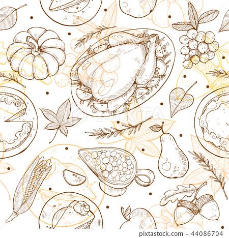 Thanksgiving Seamless Pattern 44086704
