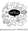 Bakery and dessert hand drawn doodles set 44087263