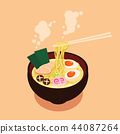 Bowl of Noodles with Chopsticks vector 44087264