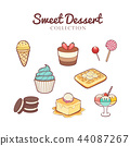 Hand drawn sweet desserts collection 44087267