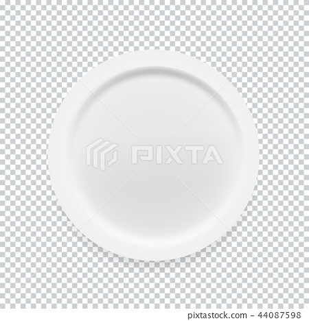 Empty white round plate on transparent background for your design. Vector Illustration 44087598