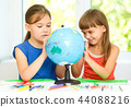 Little girls are examining globe 44088216