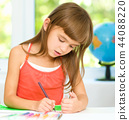 Little girl is drawing using pencils 44088220