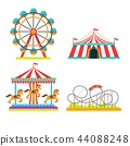 Amusement park illustration of attractions rides, circus tent, merry-go-round carousel and 44088248