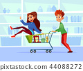 People with shopping carts cartoon illustration of family of man and pregnant woman with children in 44088272