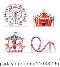 cartoon amusement park attractions set. 44088296