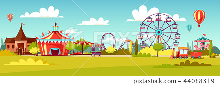 Amusement park cartoon illustration of attractions coaster rides, circus merry-go-round carousels 44088319