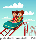 Kids on rides cartoon illustration of boy and girl riding on rollercoaster in amusement park 44088358
