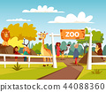 Zoo cartoon illustration or petting zoo with animals and visitors family and children 44088360