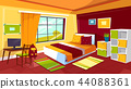 Teenager bedroom cartoon illustration of teen girl or boy room interior furniture background 44088361