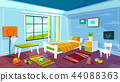 Child room cartoon illustration of kid boy bedroom interior furniture and toys background 44088363