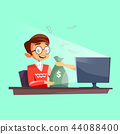 Teenager internet cartoon flat cartoon illustration of young boy giving or winning money bag from 44088400