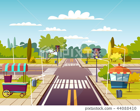 City street cartoon illustration of traffic lane crossroad with street food vendor carts on sidewalk 44088410