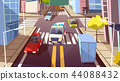 City street cars cartoon illustration of ambulance car driving on urban transport traffic lane 44088432