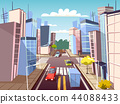 City street cars cartoon illustration of urban transport traffic lane and pedestrian crosswalk with 44088433