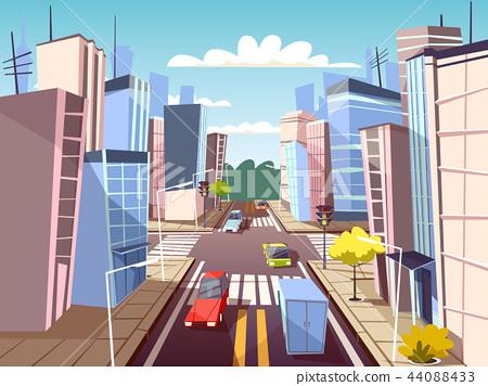 City street cars cartoon illustration of urban transport traffic lane and pedestrian crosswalk with 44088433