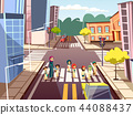 Street pedestrians cartoon illustration of Arab Muslim mother with children crossing road on traffic 44088437