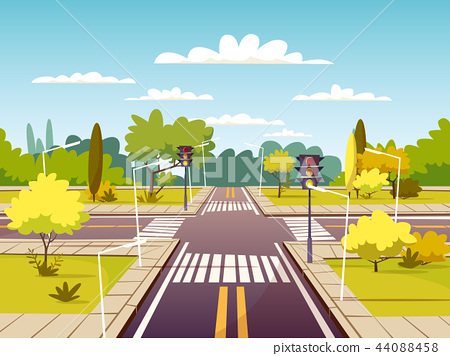 Street crossroad cartoon illustration of traffic lane and pedestrian crossing or crosswalk with 44088458