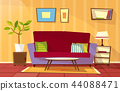 cartoon living room apartment interior 44088471
