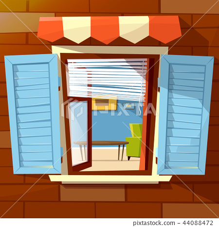 House window facade cartoon illustration of old or modern apartments wit window shutters and room 44088472