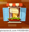 House facade cartoon illustration of old apartments window shutters and flowerpot outside view 44088486
