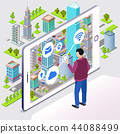 Smart city illustration of smartphone app wireless technology 44088499