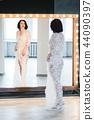 woman, lingerie, mirror 44090397