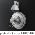 Realistic combination safe lock with CCTV camera. Isolated on black background. 3d Illustration 44090407