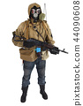 Stalker in gas mask with weapon 44090608