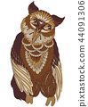decorated owl on white background 44091306