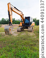 Yellow construction transport excavator digging 44091337