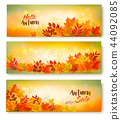 Three Autumn Sale Banners With Colorful Leaves 44092085