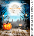 Halloween spooky background with pumpkins. 44092087