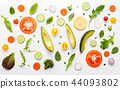 Food pattern with raw ingredients of salad. 44093802