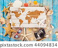 Summer traveling time. Sea holiday background with various shells. 44094834