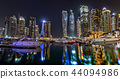 Dubai skyscrapers panorama during night hours 44094986