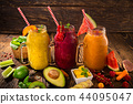 Healthy fresh smoothies with ingredients. 44095047