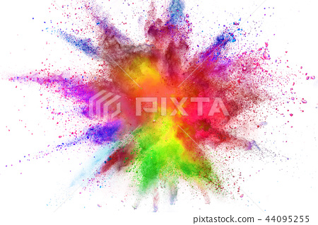 Colored powder explosion isolated on white background. 44095255