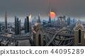 Dubai skyline during sunrise, United Arab Emirates. 44095289
