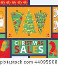 Christmas winter tree bazaar sale vector saleable wintertime Xmas advertisement shopping time big 44095908
